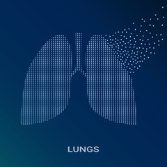 Abstract Vector Illustration Of Human Lungs On Blue Background. Pixel Art Logo of Pulmonology. Vector Logotype Illustration EPS. Creative Medical Concept