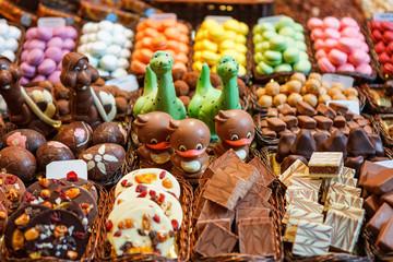 Confectionery at Boqueria market place in Barcelona, Spain