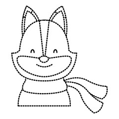 Cute cat with scarf cartoon icon vector illustration graphic design