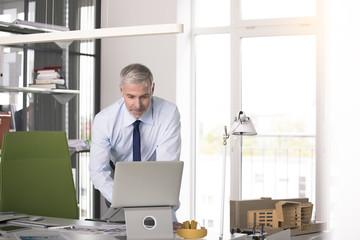 Businessman working in his office, using aptop