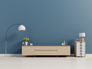 Tv cabinet in modern empty dark room,minimal designs, 3d rendering