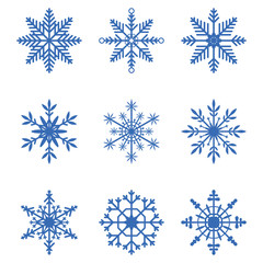 Snowflakes collection. Set of snow icons. Winter decoration elements for Christmas banner, New Year cards. Vector illustration.  abstraghirovatabstraktnyiabstraktsiiaekstraktkonspiektriefieratабстраги