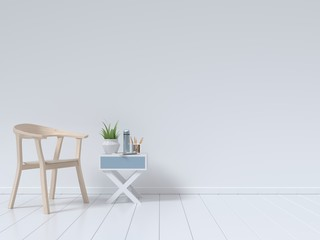 Living Room Interior with chair, plants, cabinet, on empty white wall background,minimal design, 3D rendering