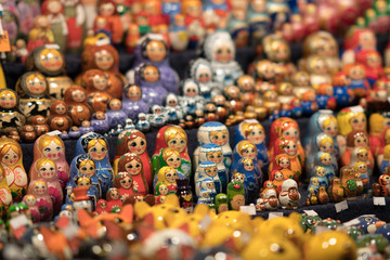 Collection of matryoshka dolls at a tourist gift shop. Selective focus