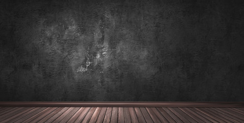 3d rendering illustration of big modern room with black plaster wall, wooden floor and plinth. Underground studio, showroom, photostudio, stage.
