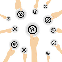 Hand hält Symbol - R-Lizenz