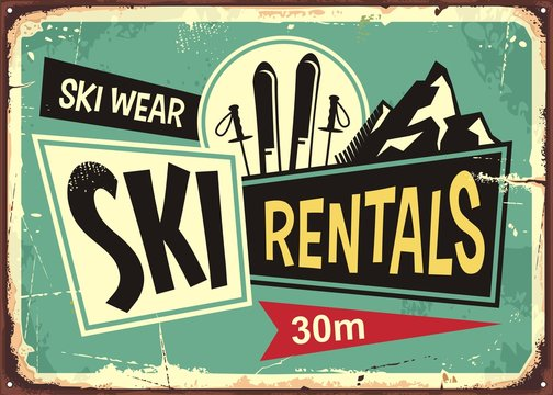 Ski rentals retro tin sign design