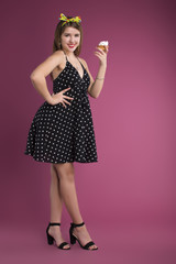 Pin up girl background isolated