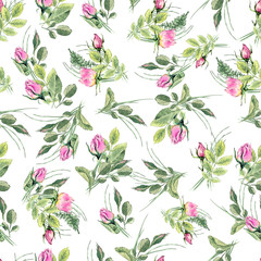 Seamless pattern with hand drawn roses