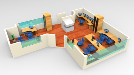 open space office with systems office desks and lounge area