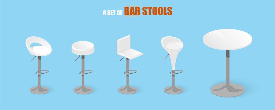 Set of bar stools and table. Bar chair. High chair. Bar interior design. Vector illustration