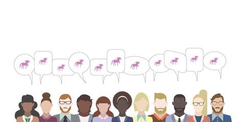 Leute mit Sprechblasen - Einhorn