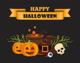 Happy Halloween Ribbon on Vector Illustration