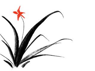 한국화, 동양화, 난초, 꽃