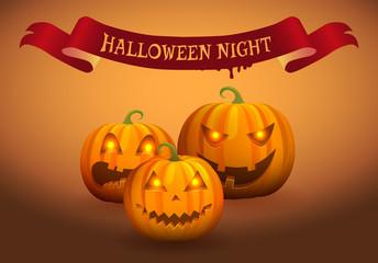 Halloween Night Jack-o-Lantern Vector Illustration