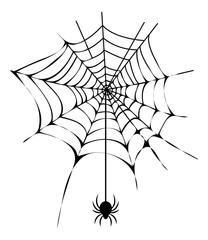 Black Thin Web with Spider Isolated Illustration