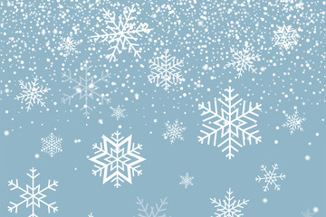 Falling snow and Snowflakes. Winter background. Merry Christmas