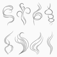 Smoke and steam stream lines. Smell and aroma abstract sign. Cigarette smoke or vapor flow. Vector illustration.
