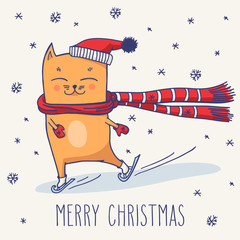 Cute winter Christmas cat
