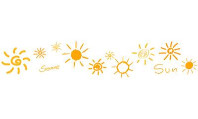 Sonne Zeichen Symbole Band Banner Reihe Hintergrund Gelb viele verschiedene
