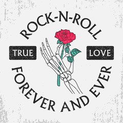 Rock and roll grunge typography for t-shirt with rose flower in skeleton hand. Fashion vintage print for apparel with slogan. Design tee clothes. Vector illustration.