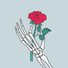 Rose flower in skeleton hand. Vector illustration.