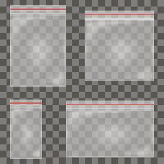 Transparent plastic zipper bags vector illustration
