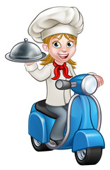Cartoon Woman Delivery Scooter Chef