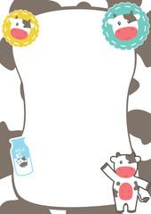 Cute Frame with Cow Theme, Cute Blank Template