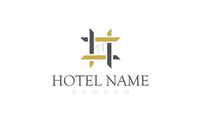 Square decoration hotel name logo