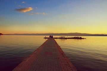 Infinity pier in sunset. Ohrid lake, Macedonia