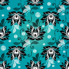 Floral vintage embroidery seamless pattern. Light blue vector background with tapesrty flowers, swirls, leaves, polka dots. Black white grunge ornaments. Embroidered design for wallpapers, fabric.