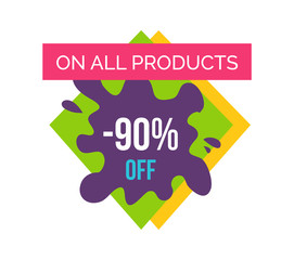 On All Products -90 Off Label Vector Illustration