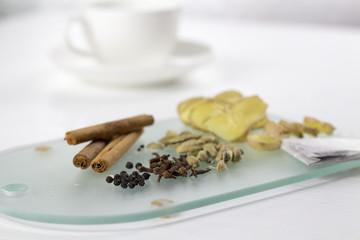 Tea Ingredients For Yogi Tea On White Background