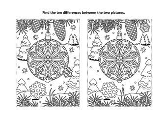 Winter holidays, New Year or Christmas themed find the ten differences picture puzzle and coloring page with christmas tree ornament.
