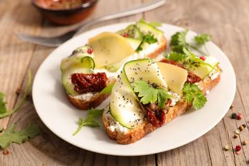 bruschetta with cheese and zucchini