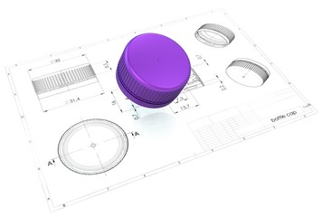 3d illustration of plastic bottle caps above engineering drawing