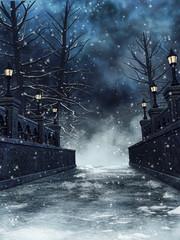 Gotycki most z lampami w zimowej scenerii