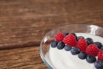 Close-up of fruit ice cream in bowl