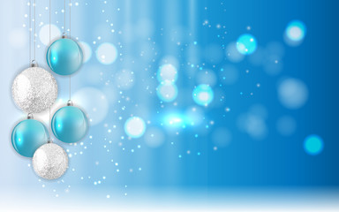 Merry Christmas and New Year Glossy Background. Vector Illustration