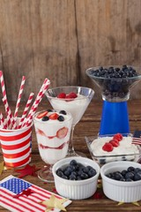Fruits and ice cream with 4th july theme