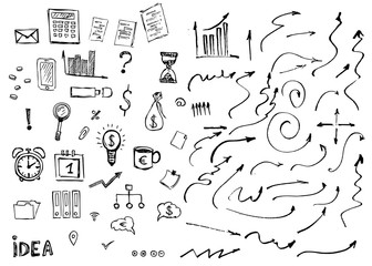 Business symbols hand drawn doodle pattern