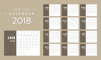 Calendar for 2018 White and brown background, Calendar vector template