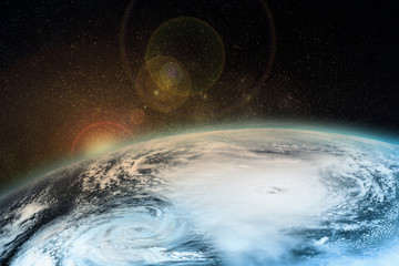 A hurricane on the Earth. Satellite view from space. Elements of this image furnished by NASA.