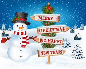 Christmas background with snowman and wooden sign.New year and Christmas greetings design. Winter holidays landscape. Background with snowman, wooden sign houses and trees