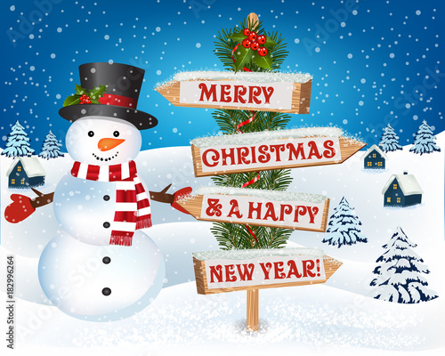 christmas background with snowman and wooden sign new year and