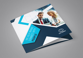 Square Trifold Brochure Layout with Blue Accents