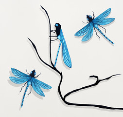 Foto op Canvas Surrealisme Three Dragonflies