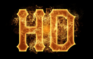 hd word text logo fire flames design