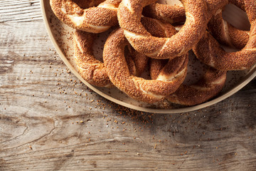 Turkish bagel on wooden background
